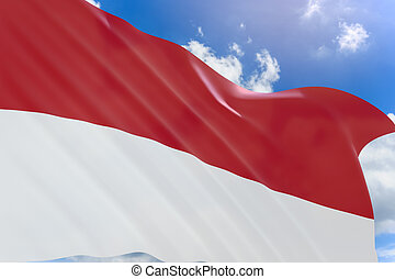 3D rendering of Indonesia flag waving on blue sky background