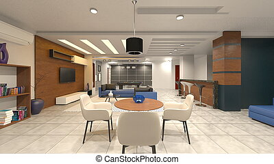 3D rendering of Inside the house