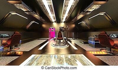 3D rendering of Inside the spaceship