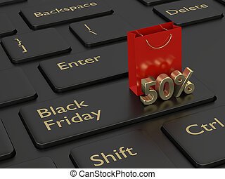 3d rendering of keyboard, shopping bag and black friday discount