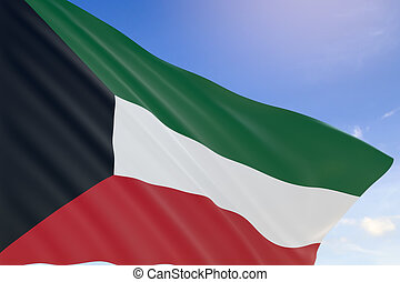 3D rendering of Kuwait flag waving on blue sky background