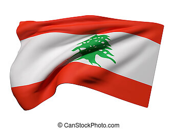 Lebanon flag waving