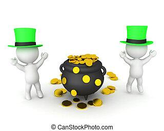 3D Rendering of leprechauns dancing around pot of gold. 3D ...