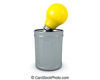 3D Rendering of lightbulb thrown in the trash