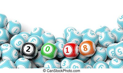 3D rendering of lucky colorful balls with 2018, isolated on white
