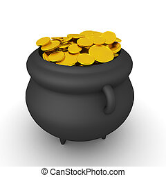 3D Rendering of magical pot with gold coins. 3D Rendering ...