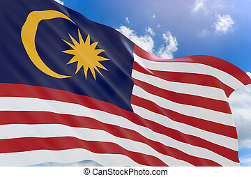 3D rendering of Malaysia flag waving on blue sky background