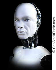 3D rendering of male robot head.