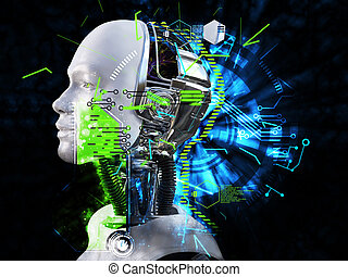 3D rendering of male robot head technology concept.