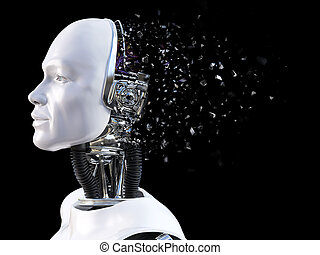 3D rendering of male robot head that shatters.