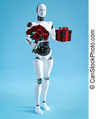 3D rendering of male robot holding a bouquet of roses.