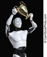 3D rendering of male robot holding trophy award.