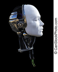 3D rendering of male robotic head in profile.