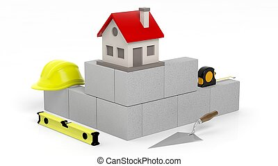 3D rendering of masonry tools and bricks with house symbol, isolated on white.