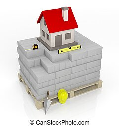3D rendering of masonry tools and bricks with house symbol on top, isolated on white.