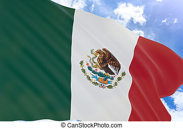 3D rendering of Mexico flag waving on blue sky background