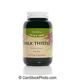 3D rendering of  Milk Thistle supplement bottle, isolated on white background.