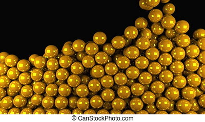 3D rendering of modern background. Computer generated animation many gold balls fall on top and fill the entire screen