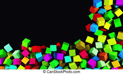 3D rendering of modern background. Computer generated animation many multicolor cubes fall on top and fill the entire screen