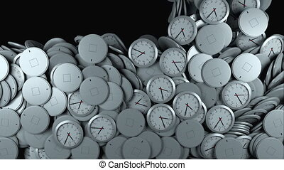 3D rendering of modern background. Computer generated animation many wall clocks fall on top and fill the screen