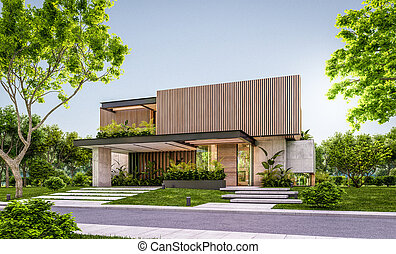 3d rendering of modern house with wood plank facade in evening