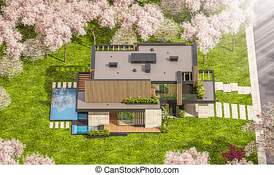 3d rendering of modern house with wood plank facade in spring
