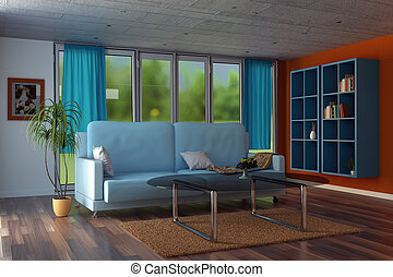 3d rendering of modern living room with orange walls and blue curtains