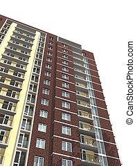 3d rendering of modern multi-storey residential building
