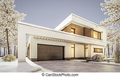 3d rendering of modern winter house at evening