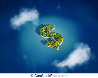 3D rendering of Money island - 3D rendering of Island with...