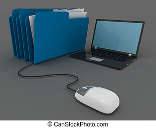 3d rendering of mouse with file folder