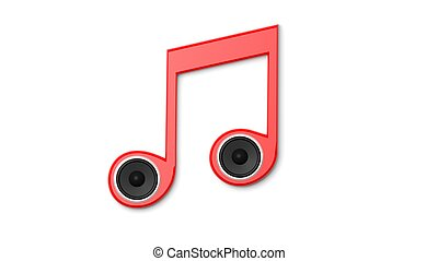 3D rendering of musical note with speakers, isolated on white. Conceptual.