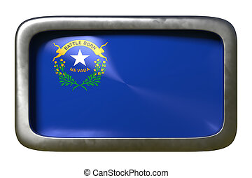 3d rendering of a Nevada State flag plate isolated on white background