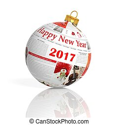 3D rendering of newspaper  2017 ball, on white background