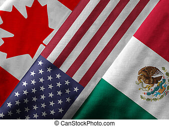3D Rendering of North American Free Trade Agreement NAFTA Member