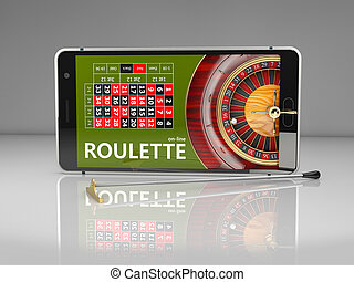 3d Rendering of Online Internet casino app, roulette with phone, gambling casino games.