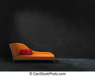 orange recamier - 3D rendering of orange recamier with black...
