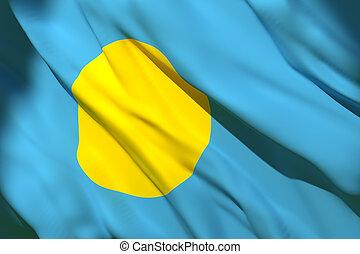 Palau flag waving