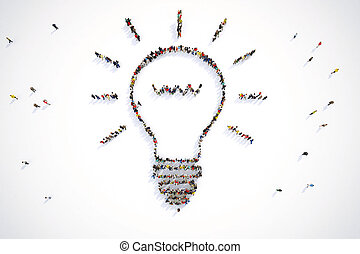 3D Rendering of people forms a bulb light - Group of people...