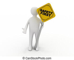 3d rendering of person making stop gesture and holding safety first road sign