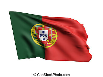 Portugal flag - 3d rendering of Portugal flag on white...