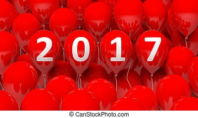 3D rendering of red balloons with 2017 new year