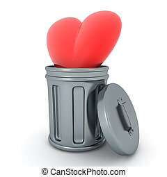 3D Rendering of red cartoon heart thrown in trash can