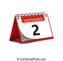 3D rendering of red desk paper november 2 date - calendar page