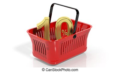 3D rendering of red shopping basket with golden 10% discount symbol, isolated on white.