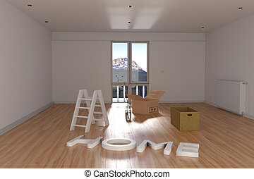 3d rendering of relocation. Empty room with cardboard box and ladder