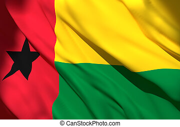 3d rendering of Republic of Guinea-Bissau flag