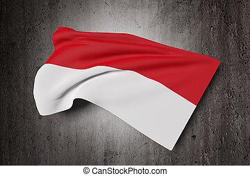 Republic of Indonesia flag waving