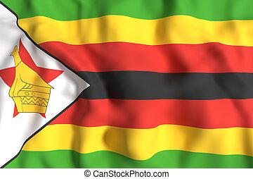 Republic of Zimbabwe flag waving - 3d rendering of Republic ...