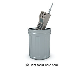 3D Rendering of retro cellphone in the trash can